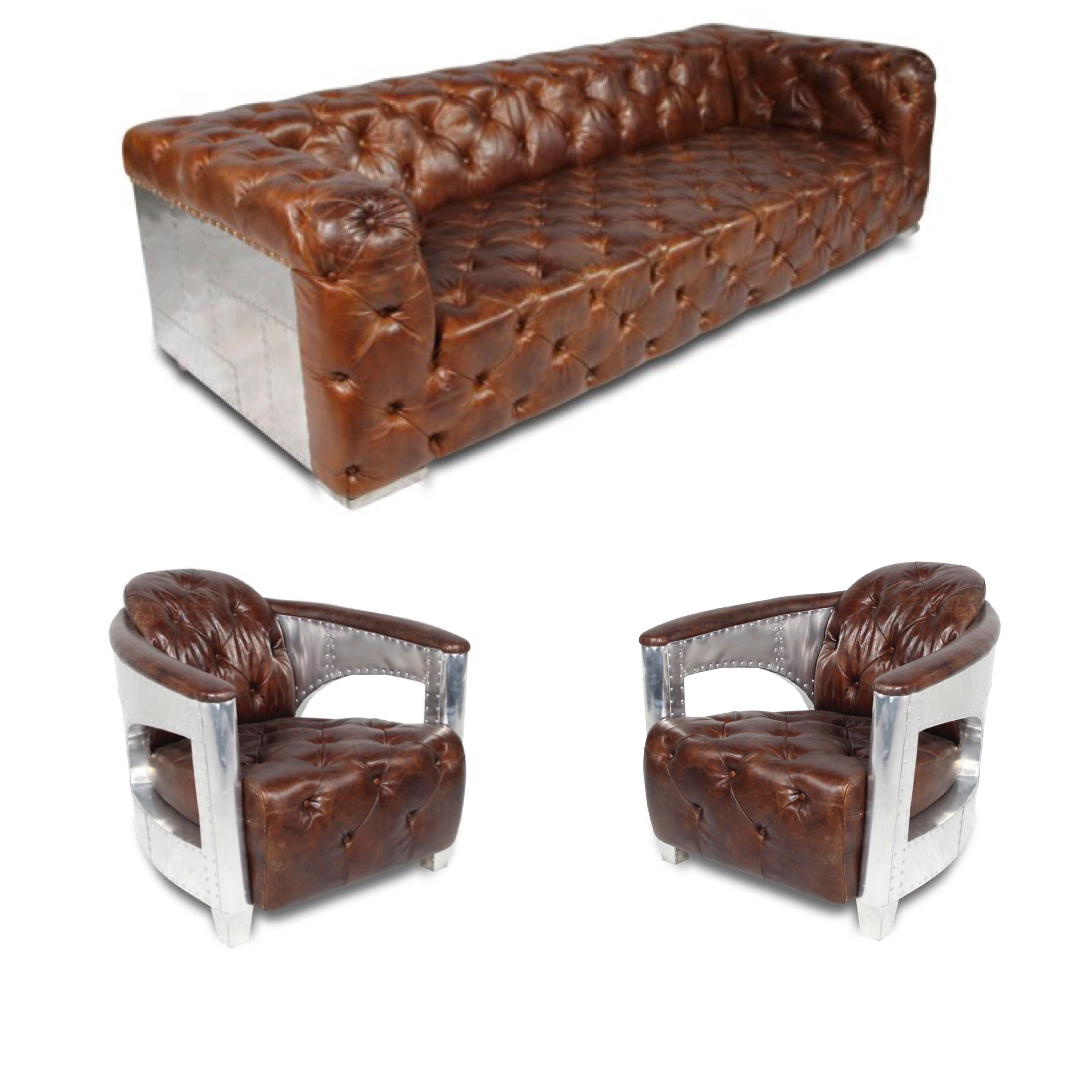 vintage leder chesterfield aviator sofa mit zwei gepolsterte sessel. Black Bedroom Furniture Sets. Home Design Ideas