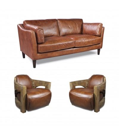 """Sofa """"Candice"""" 3 Sitzer und 2 Club Sessel """"Bryan"""" in Braun Vintage Leder"""