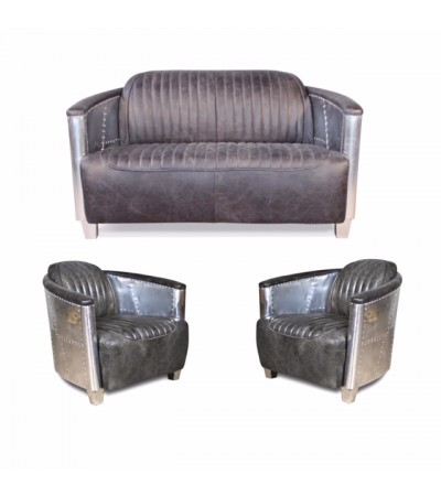 "Sofa 2 Sitzer und 2 Aviator Sessel ""Mermoz"" in Graue Vintage Leder"