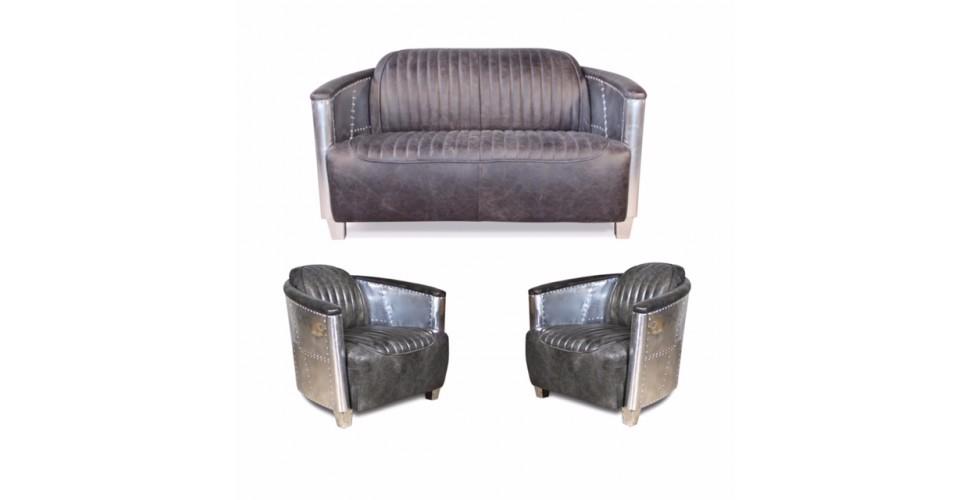 Sofa Und Zwei Sessel Aviator Stil In Vintage Graue Patina Volleder