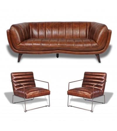 """Canapé 3 places """"Sixtees"""" avec 2 Fauteuils Design """"Andy"""" Cuir marron vintage"""