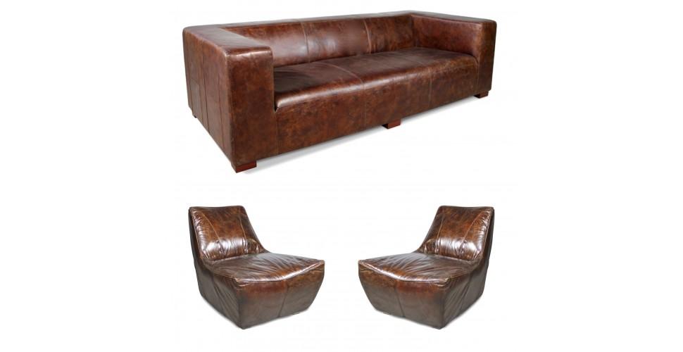 """Canapé """"Lawrence"""" + 2 fauteuils """"Jim"""" cuir marron vintage"""