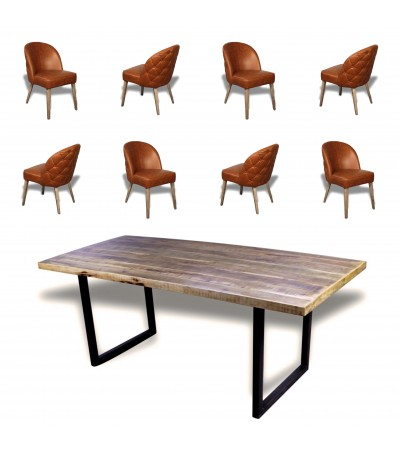 "Table de Repas ""Denver"" 220 cm + 8 chaises en cuir marron ""Buckingham"""