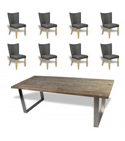 """Table de Repas en bois """"Austin"""" 240 cm + 8 chaises en tissu"""