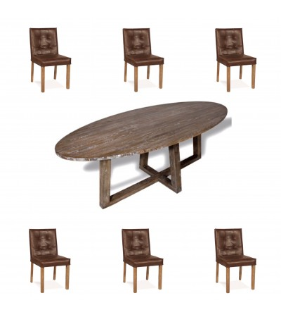 """Table de Repas ovale en bois """"Blythe"""" 220 cm + 6 chaises en cuir marron"""