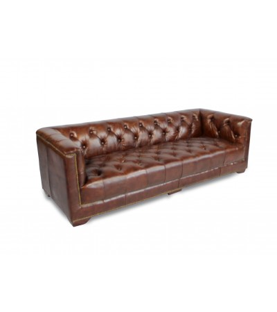 "Canapé Chesterfield ""Ferguson"" cuir marron"
