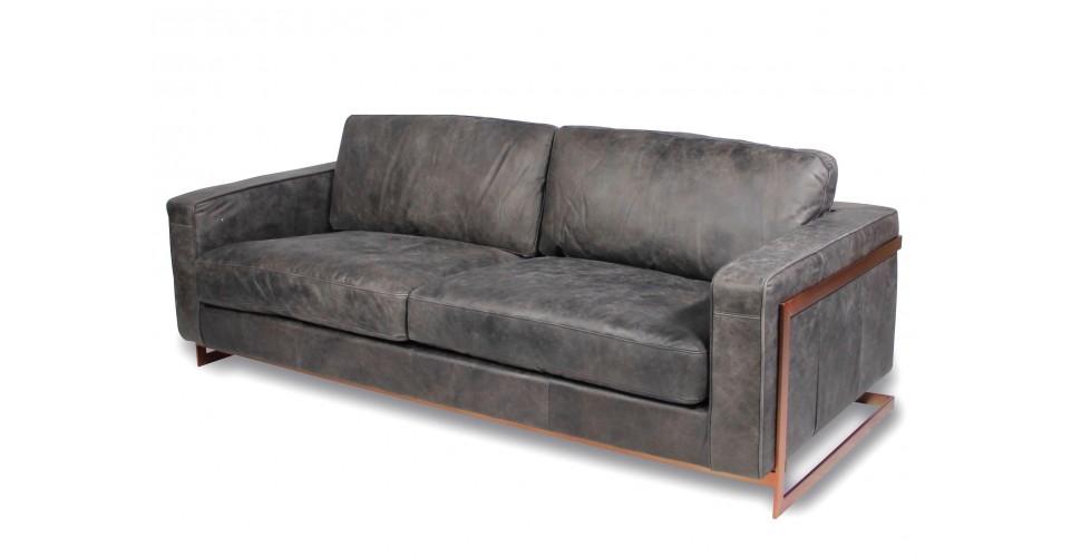 """Canapé """"Scott"""" en cuir gris style design"""