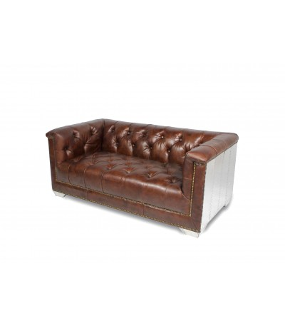 "Canapé Chesterfield Aviateur ""Ferguson"" cuir marron"