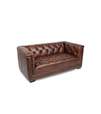 """Canapé Chesterfield """"Ferguson"""" cuir brun"""