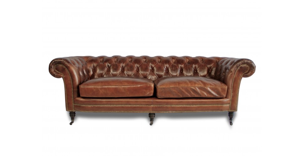 "Canapé Chesterfield Cuir vintage Marron ""Victoria"" 3 places"