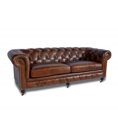 Canapé Chesterfield 3 Pl Cuir Vintage