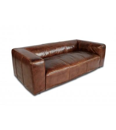 "Sofa ""Oliver"" 3-Sitzer aus patiniertem braunem Leder"