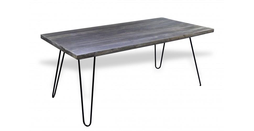 Table de repas bois patiné gris et pieds métal