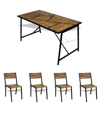 """Esstisch """"Manhattan"""" 150 cm + 4 Stuhlen """"Manufacture"""""""