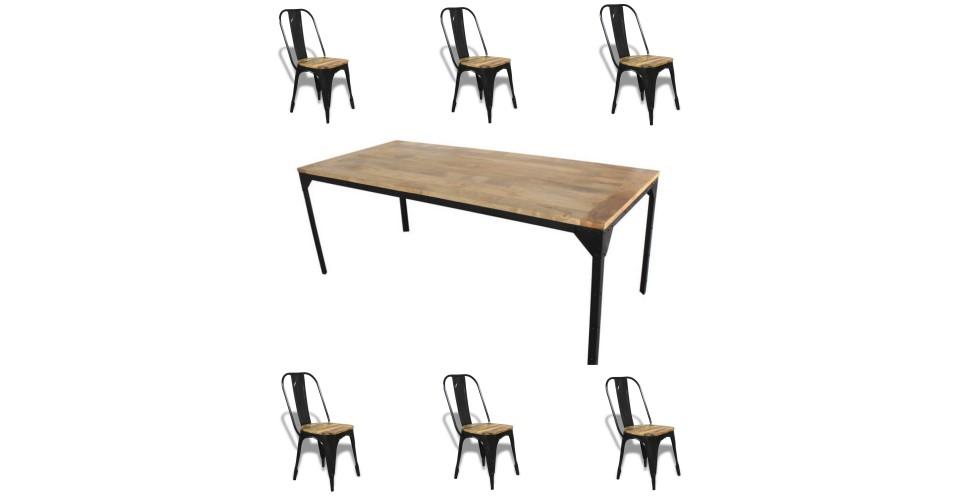 """Table de Repas """"Rivets"""" 200 cm + 6 chaises """"Factory"""""""