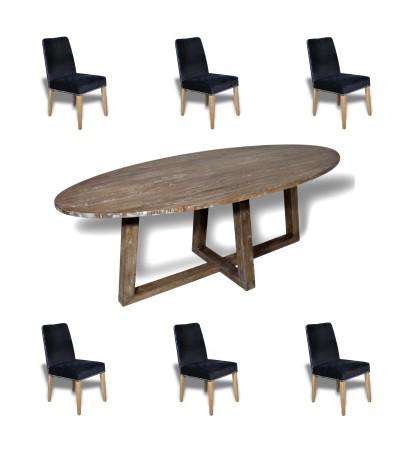 """Ovale Esstisch in Massiv Holz """"Blythe"""" 220 cm + 6 Samt Stuhlen"""