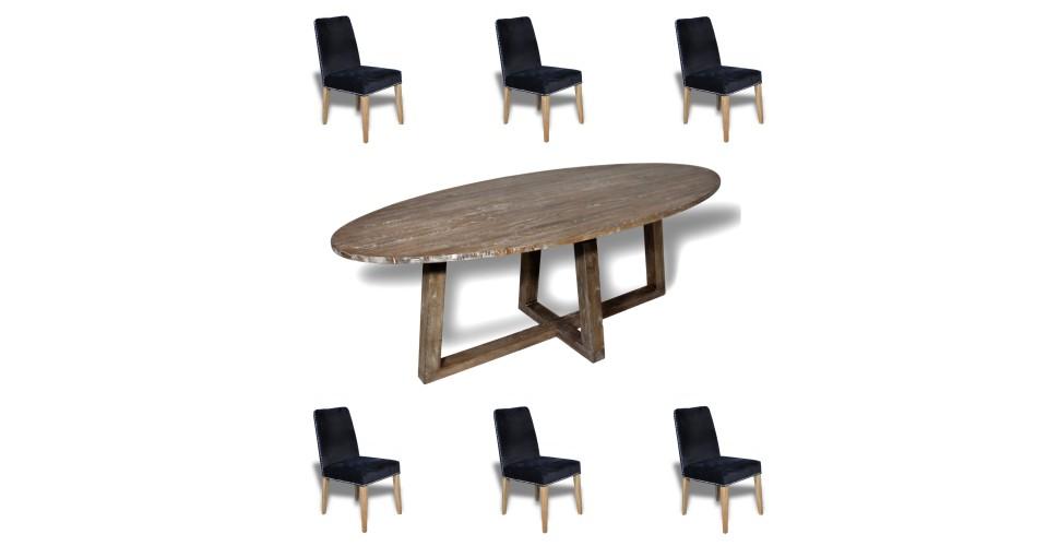 """Table de Repas ovale en bois """"Blythe"""" 220 cm + 6 chaises en velours gris ou bleu"""
