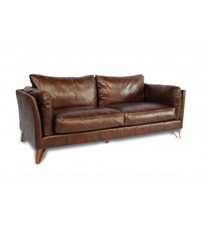 "Canapé ""Trevor"" en cuir marron design"