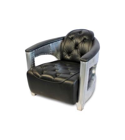"Aviator Sessel ""Alexander"" gepolstert schwarzes Leder, Aluminium und Nieten"