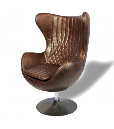"Fauteuil ""Egg"" tout cuir brun, style sixties"