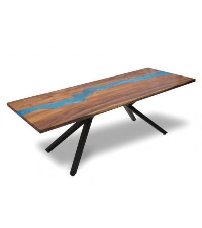 """Table de repas """"Blue River"""" bois de Suar et résine, cm"""