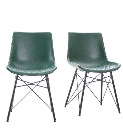 """2 """"Buckingham"""" Stühle aus grünem Leder und schwarzem Metall"""
