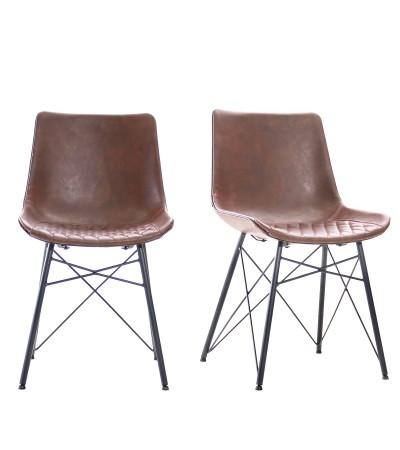 """2 """"Buckingham"""" Stühle aus braunem Leder und schwarzem Metall"""