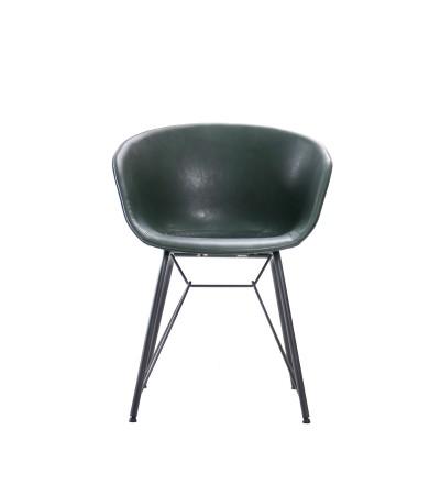"""Chaise """"Newcastle"""" en cuir vert foncé et métal noir"""