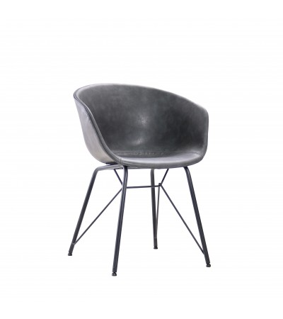"""Chaise """"Newcastle"""" en cuir gris et métal noir"""
