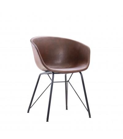 """Chaise """"Newcastle"""" en cuir brun et métal noir"""