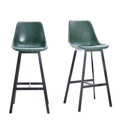 "2 ""Yorkshire"" Barstühle aus grünem Leder und schwarzem Metall"