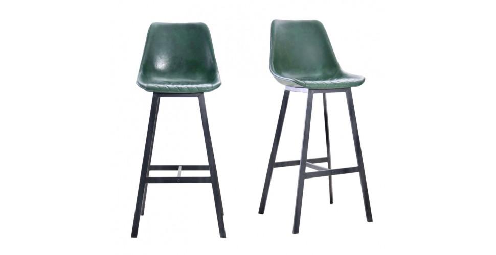 "2 Chaises de bar ""Yorkshire"" en cuir vert et métal noir"