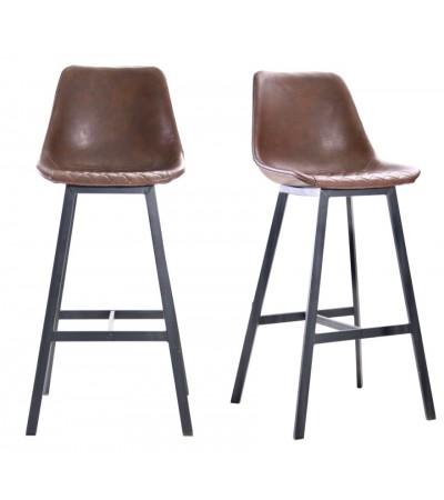 """2 """"Yorkshire"""" Barstühle aus braunem Leder und schwarzem Metall"""