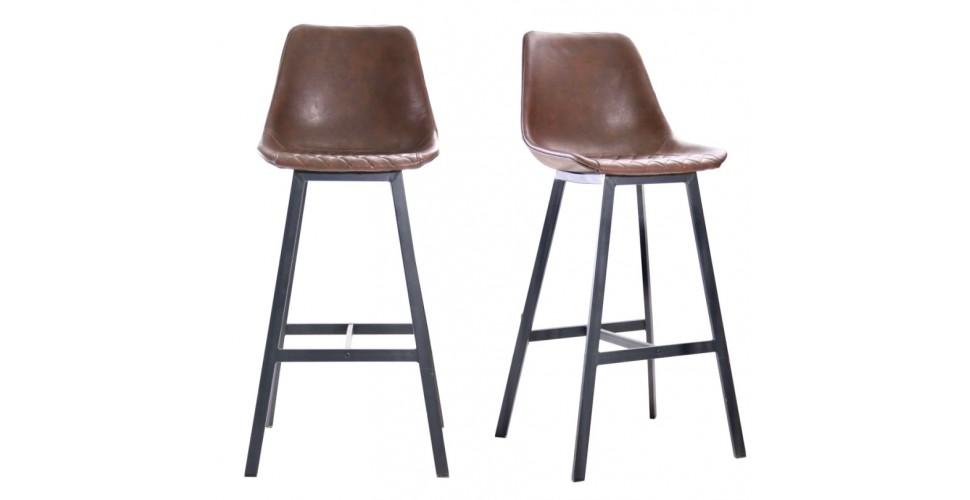 """2 Chaises de bar """"Yorkshire"""" en cuir marron et métal noir"""
