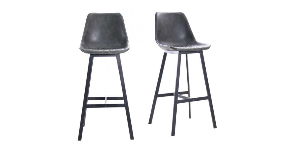 """2 Chaises de bar """"Yorkshire"""" en cuir gris et métal noir"""