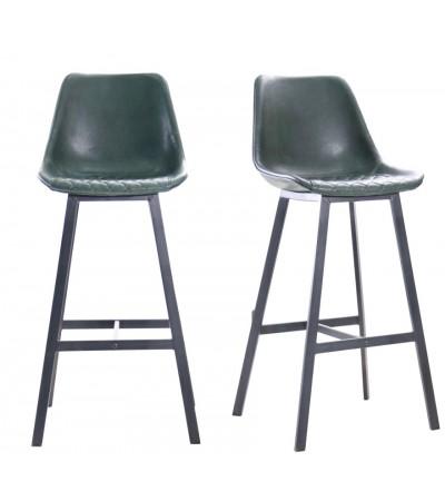 "2 ""Yorkshire"" Barstühle aus dunkelgrünem Leder und schwarzem Metall"