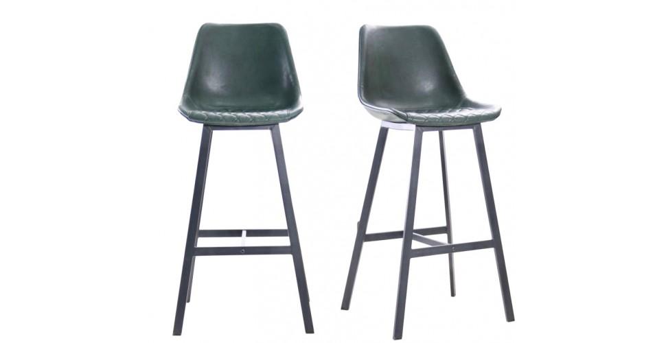 """2 Chaises de bar """"Yorkshire"""" en cuir vert foncé et métal noir"""