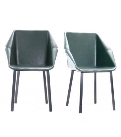 """2 """"Oxford"""" Stühle aus dunkelgrünem Leder und schwarzem Metall"""