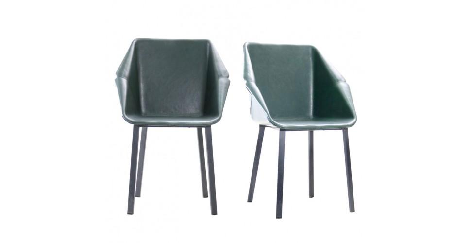 """2 Chaises """"Oxford"""" en cuir vert foncé et métal noir"""