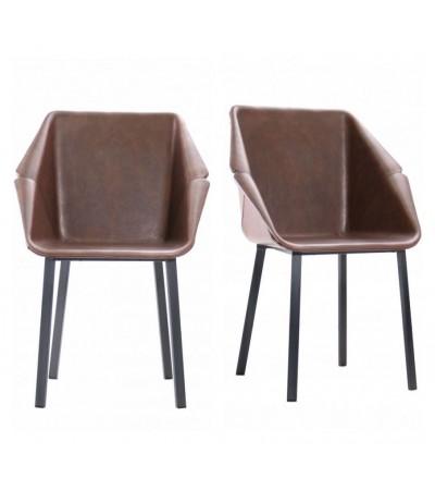 """2 """"Oxford"""" Stühle aus braunem Leder und schwarzem Metall"""