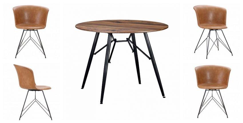 Runder Esstisch Mit 4 Vintage Braunen Leder Und Metallstuhlen