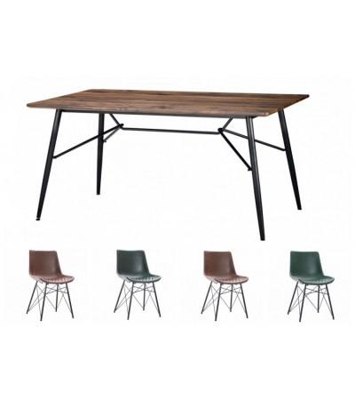 Table de repas 160 cm avec 4 chaises cuir brun