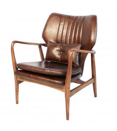 "Club-Sessel ""Edward"" aus Massivholz und braunem Leder"