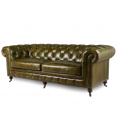 """Canapé Chesterfield Cuir vintage vert """"Windsor """""""