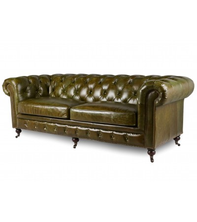 "Chesterfield Grüne Vintage Ledersofa ""Windsor"""