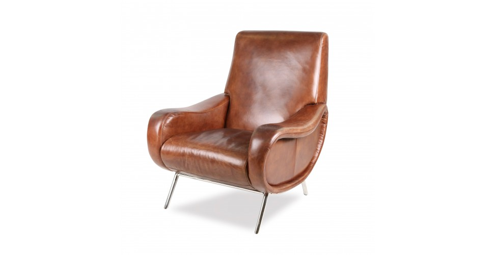 "Fauteuil Club ""Harris"" en cuir brun style 50's"