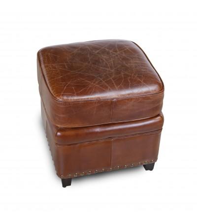 "Pouf ""Ernest"" en cuir marron vieilli style club anglais"