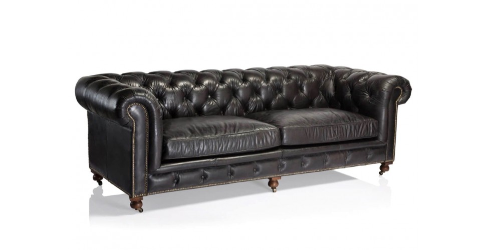 "Canapé Chesterfield ""The First"" Cuir Noir, 3 places"