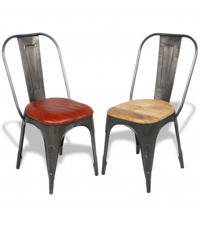 """2 x chaises """"Factory"""" métal antique assise cuir vintage marron et bois, design industriel"""