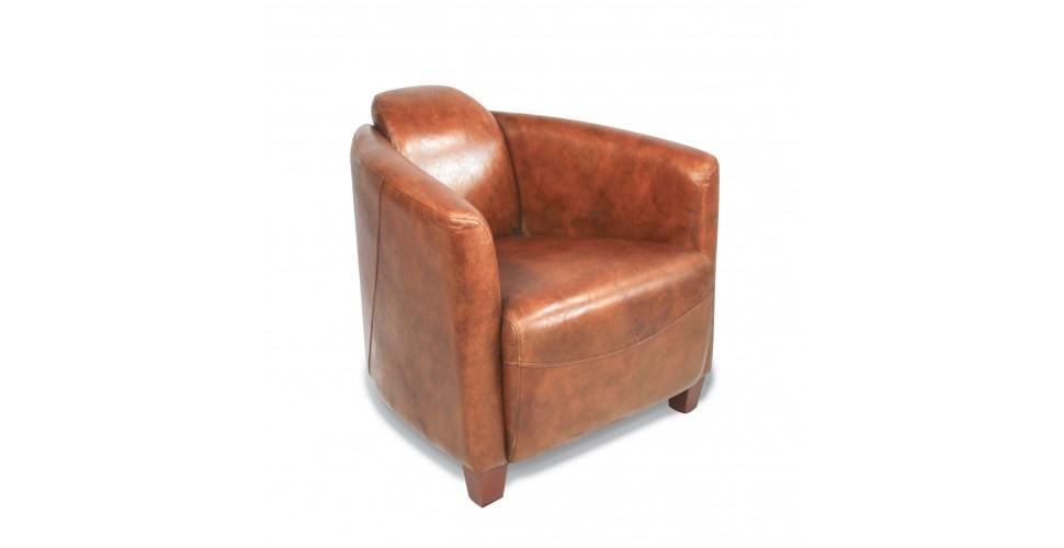 "Fauteuil Club ""Andrew"" cuir vintage marron clair"